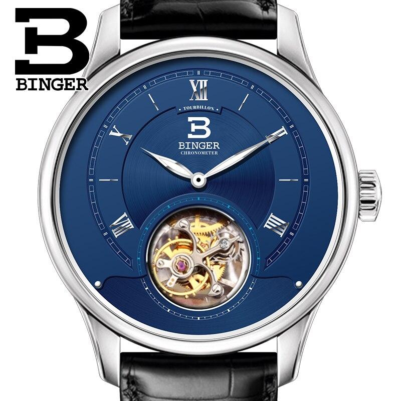 Herrenuhren Mechanische Uhren Luxus Schweiz Binger Uhren Männer Japan Seagull Automatische Bewegung Tourbillon Sapphire Alligator Verstecken Herren Uhr B80805-2 Reines Und Mildes Aroma