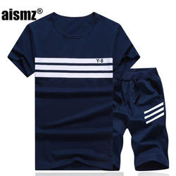 Aismz Лето Для мужчин набор спортивных костюм Для мужчин короткий рукав футболка + шорты из двух частей Фитнес Комплект Спортивный костюм