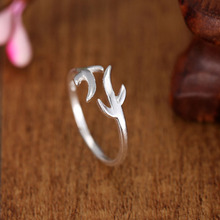 Christmas Gift 2017 Trendy Silver Rings for Women Refinement Smooth Antlers Wedding Ring Open Jewelry Bague Femme Anillos Mujer