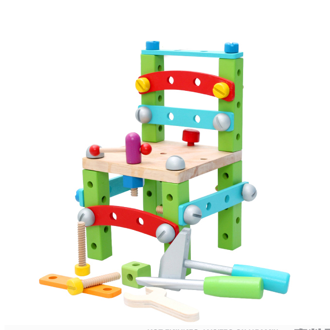 Chanycore Baby Learning Educational Wooden Toys Blocks Screws Nuts Assemblage Geometric Shape Chair mwz Enlightenment Gifts 4193