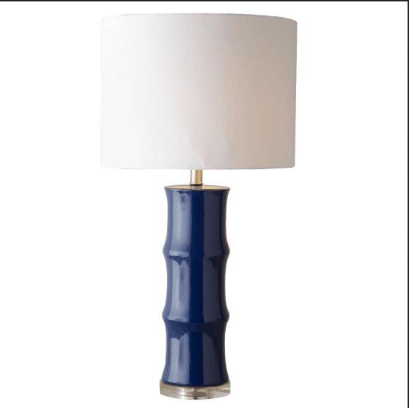 American blue ceramic table lamp classical bedroom bedside restaurant Chinese modern table lights home lighting ZA FG279