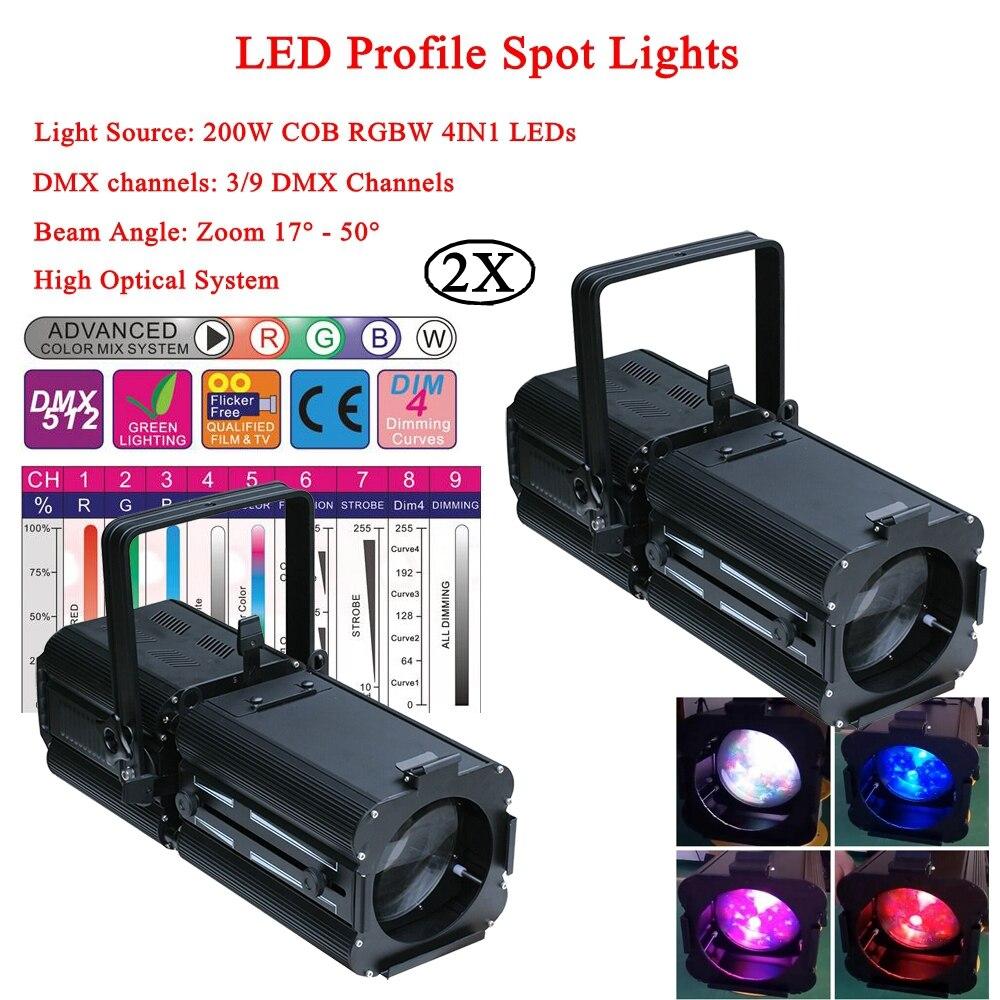 2Pcs/Lot 200W Spotlight LED Warmwhite / Purewhite / Coldwhite / RGBW Optional LED Profile Spot Lights For Disco DJ Party Stage