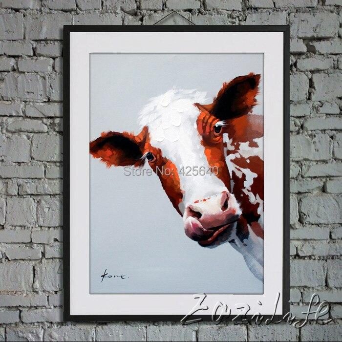 Vache peint à la main peinture à l'huile sur toile photos murales peintures pour salon mur Art toile Pop art vache moderne abstrait