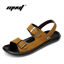 Genuine Leather Shoes Sandals Large Size Men's Shoes Breathable Slippers Non-slip Rubber Soles Beach Summer Shoes Men hot 2018 big size men s sandals summer british fashion man genuine leather beach shoes men massage non slip large slippers flats