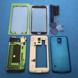 Image 4 - Чехол с полным покрытием корпуса, запасные части для Samsung Galaxy S5 SV G900 I9600 + внешнее стекло + наклейка + Инструменты