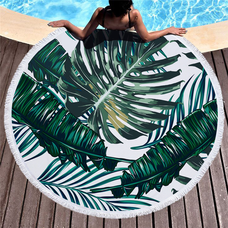 Tropische Pflanzen Stoff Schwimmen Weiche Badetuch Runde Große Strand Decke für Erwachsene Badetuch Quaste Tapisserie Yoga Picknick-matte