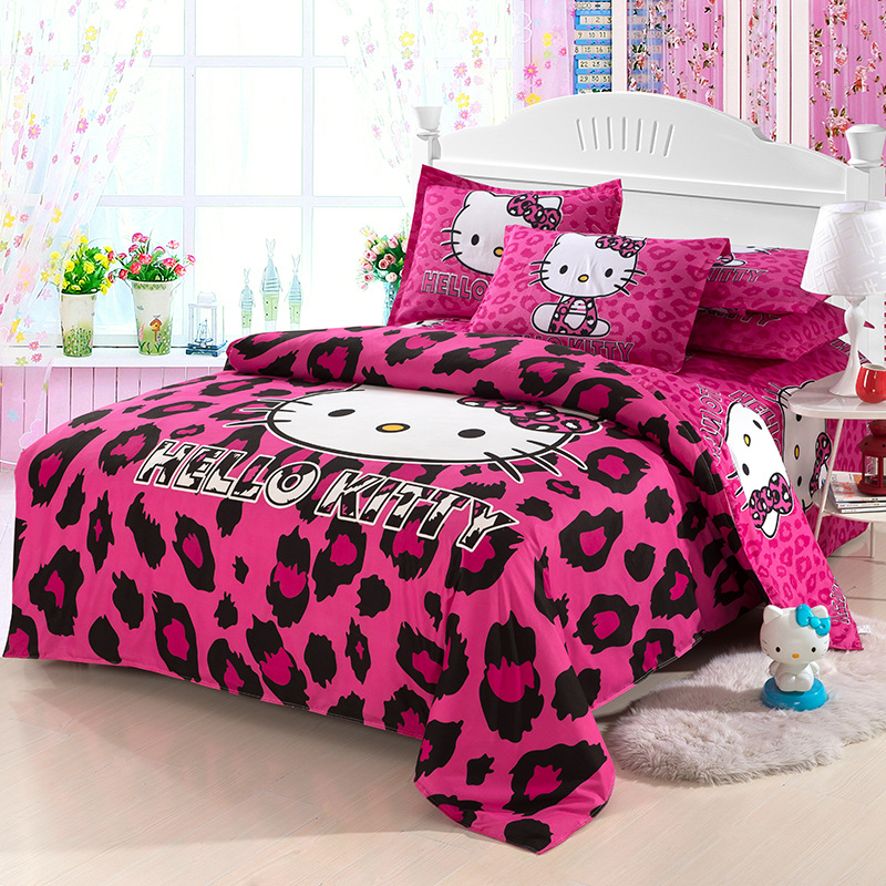 Newest Lovely Cartoon Hello Kitty Cut Mouse 4pcs/3pcs Duvet Cover Sets Soft Polyester Bed Linen Flat Bed Sheet Set Pillowcase