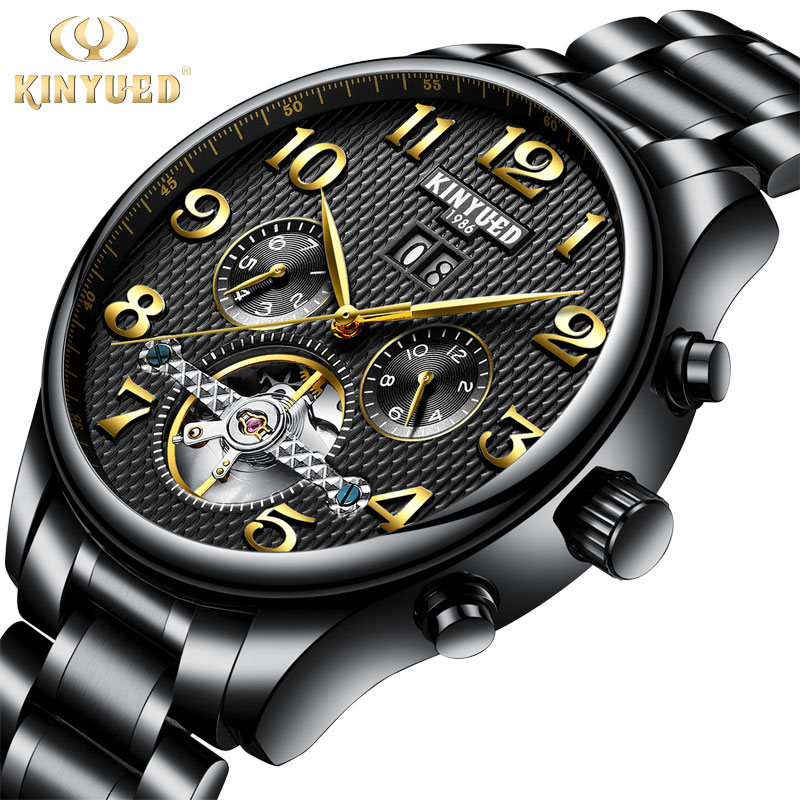 Kinyued Top Brand Luxury Mechanical Watches Men Black Automatic Self-wind Stainless Steel Band Hand Watch Skeleton Wristwatch все цены