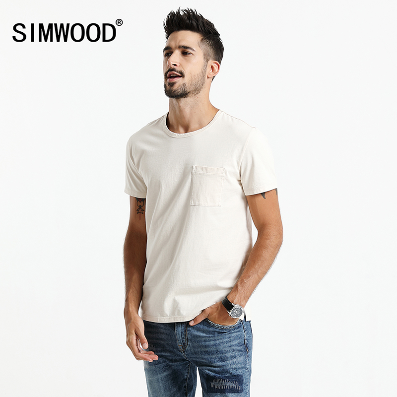 SIMWOOD 2018 Summer T Shirts Men Slim Fit Original Color 100% Cotton O-neck T Shirt Male Brand Clothing TD017104