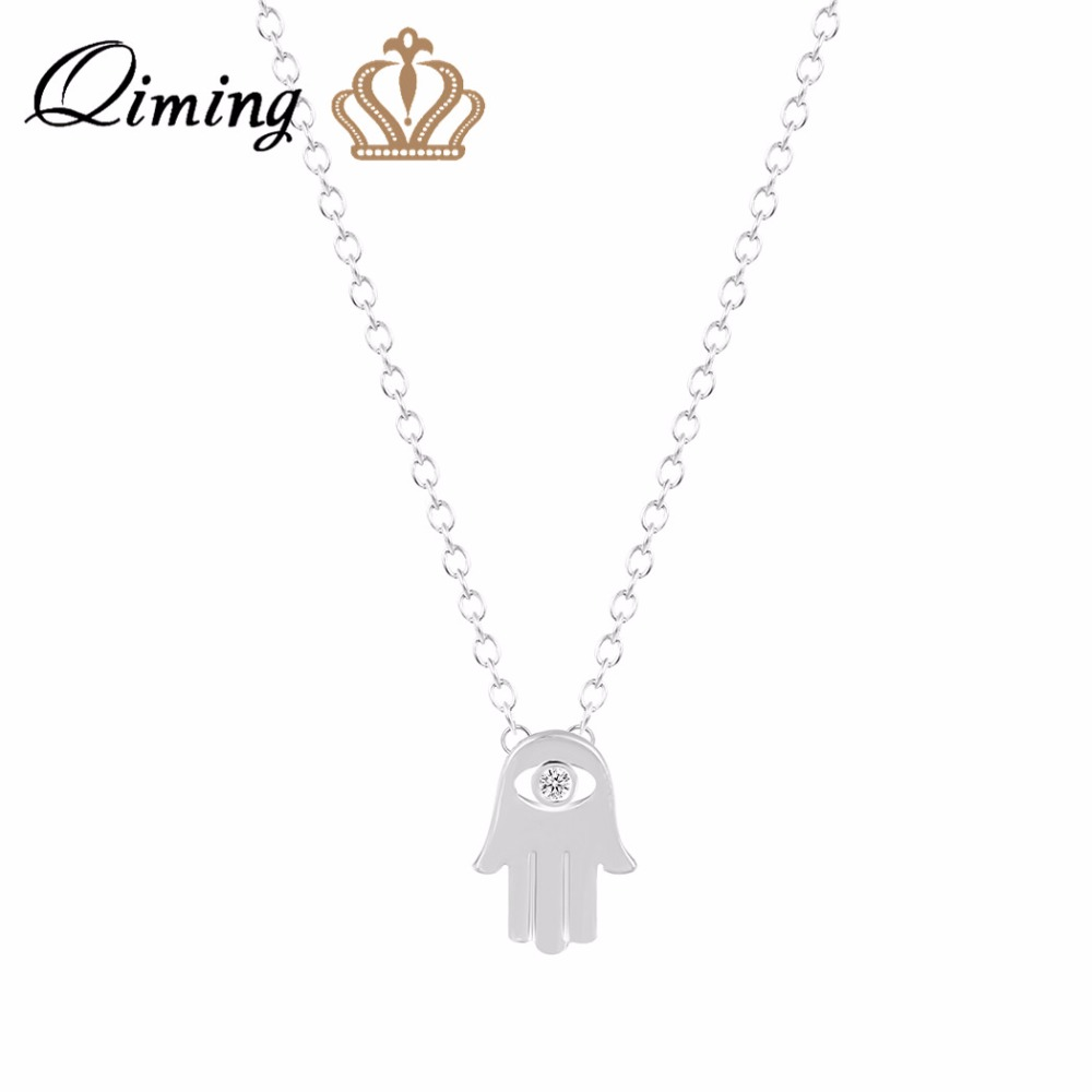 QIMING Hamsa Hand Silver Necklace Accessories Collier Gold Simple Pendant Friendship Chokers In Necklaces From Jewelry