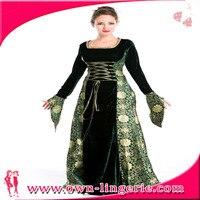 送料無料大人の映画中世戦士中国王女の衣装、グリーンフード付き中世ハロウィーン衣装