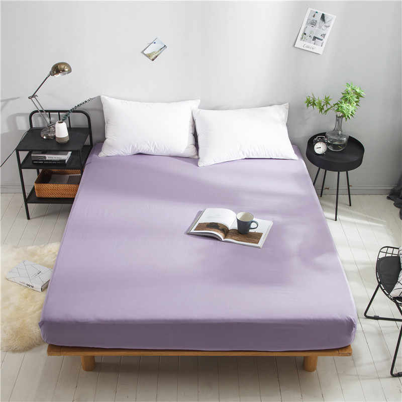 LAGMTA 1 pc 100% Cotton Fitted Sheet Super Soft Solid Colour Four Corners with Elastic Mattress Cover