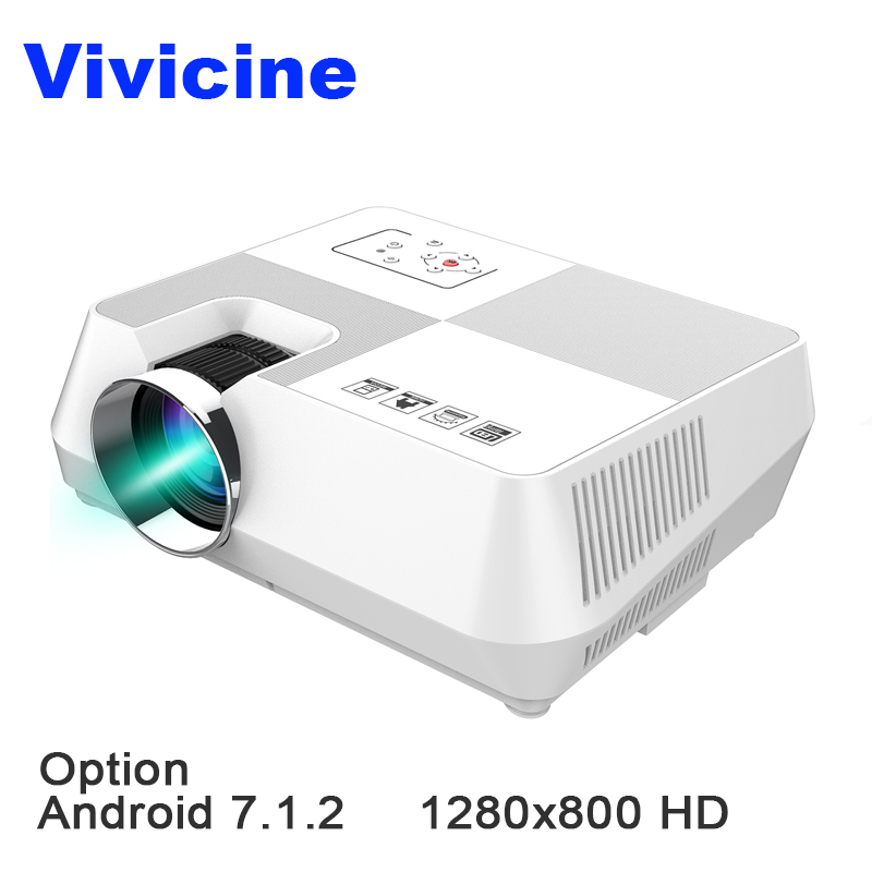 VIVICINE 720p Mini Projector,Android 7.1.2 HD 1280x800 Portable HDMI USB PC 1080p Home Theater Proyector Bluetooth WIFI Beamer