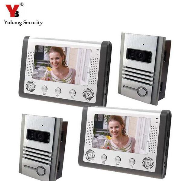 Yobang Security 7 TFT Doorphone Wired Video intercom LCD 2 Monitor Speakerphone Intercom With 2 Door Cameras Support E-lock