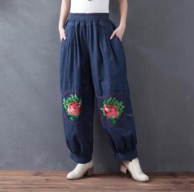 Chinese style embroidery harem pants for women elastic waist black blue casual capris plus size national trend cotton hzz0701 lole капри lsw1349 lively capris xs blue corn
