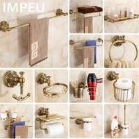 Acessórios do banheiro de bronze antigo pacote tudo-em-um, barra de toalha, anel de toalha, suporte de escova de toalete, gancho da veste, suporte do secador de cabelo
