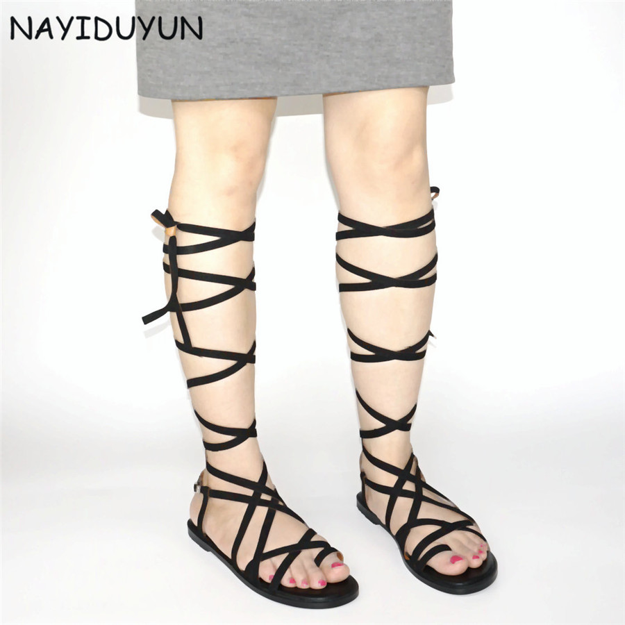 NAYIDUYUN   Womens Faux Suede Strappy Roman Gladiator Sandals Lace Up Party Thong Flat Oxfords Open Toe Summer Long Boots US5-10 nayiduyun shoes women cow suede strappy sandals roman gladiator sandals platform wedges creepers party casual shoes summer size