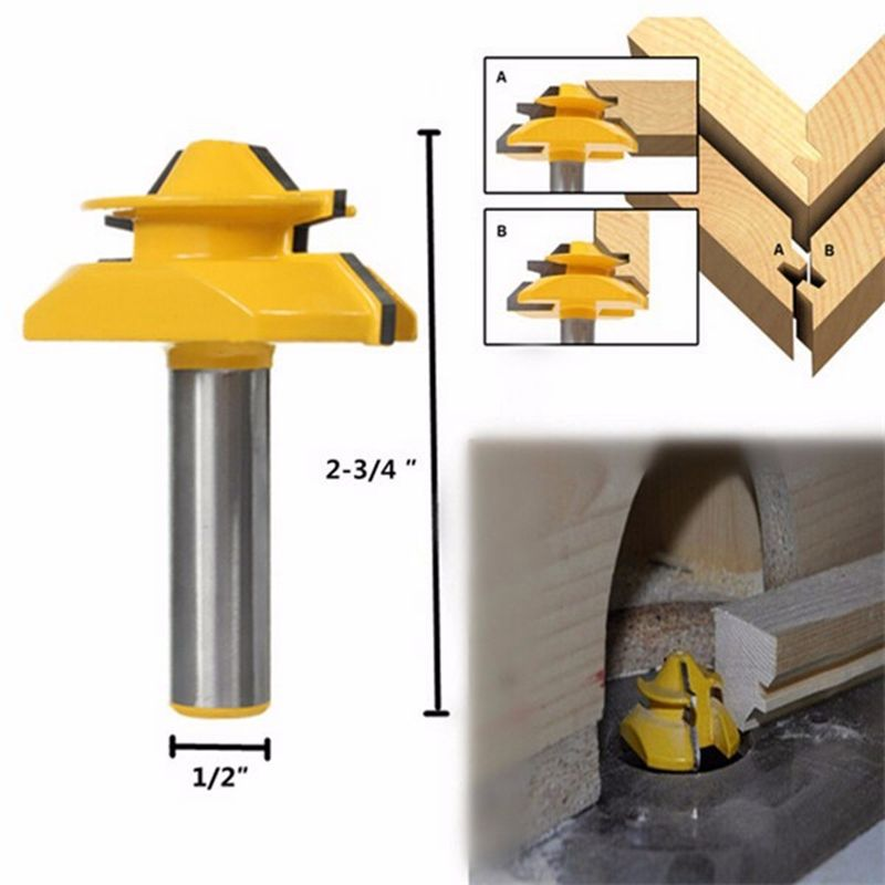 1pc 1/2 Shank Medium Lock Miter Router Bit 45 Degree Mayitr For Woodworking Cutter  Power Tool high grade carbide alloy 1 2 shank 2 1 4 dia bottom cleaning router bit woodworking milling cutter for mdf wood 55mm mayitr