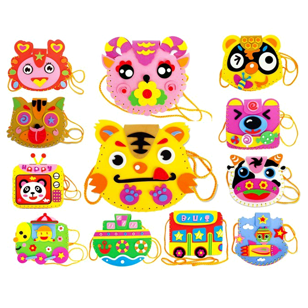 EVA DIY Bags Cute Flower Handmade Crafts Cartoon Sewing Backpacks Toy Kids Creative Brain Hand-Eye Coordination Traning Toy