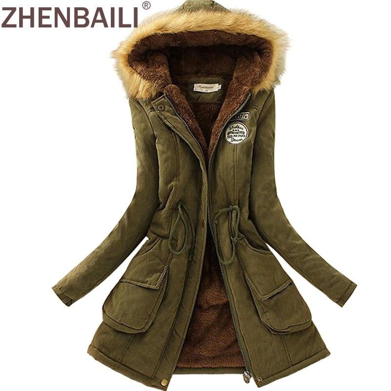 ZHENBAILI Winter Jacke Frauen ParkaS Warme Jacken Pelz Kragen Lange Mäntel Parka Hoodies Büro Dame Baumwolle Plus Größe Hot