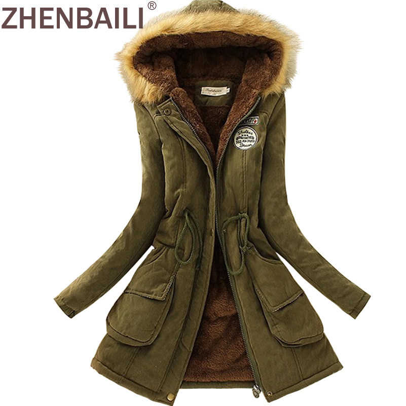 ZHENBAILI Winter Jacket Women   ParkaS   Warm Jackets Fur Collar Long Coats   Parka   Hoodies Office Lady Cotton Plus Size Hot