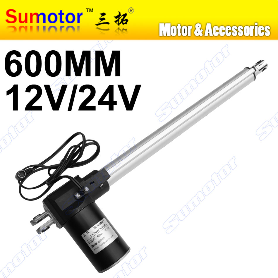 L600 24inch 600mm stroke Electric linear actuator DC 12V 24V 5 10 30mm/s Heavy Duty Pusher Progressive 600 300 100Kg furniture