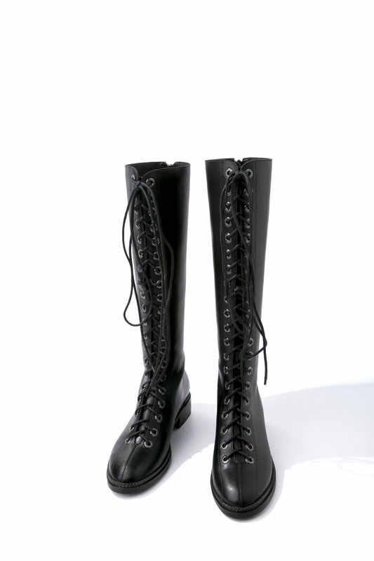 TXCNMB Marka Klasik Tasarım Kadın Diz Yüksek Çizmeler Yüksek Topuklu Tokaları Motosiklet Botları Hakiki Deri Uzun Ayakkabı Kadın