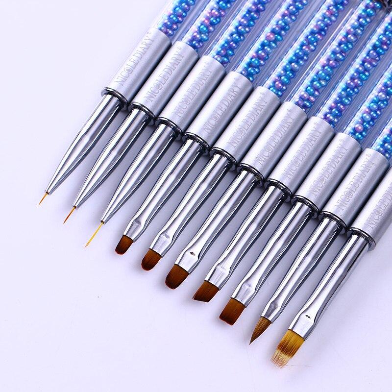 NICOLE DIARY UV Gel Brush Liner Painting Pen Acrylic Drawing Brush For Nails Gradient Rhinestone Handle Manicure Nail Art Tool