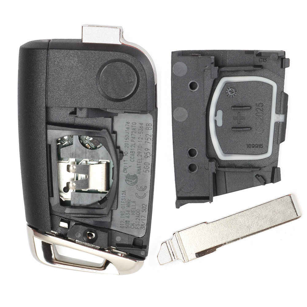Keyecu Remote Kunci Fob 434MHz ID48 untuk Volkswagen MQB Golf VII MK7, Skoda Octavia A7 2017 5G0959753BC