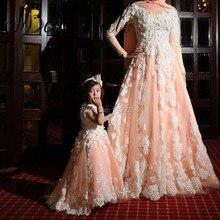 Pfirsich Langarm Muslim Islamischen Abendkleid Formale Dubai Kleider Kaftan Marocaine 2017 Winter Passenden Mutter Tochter