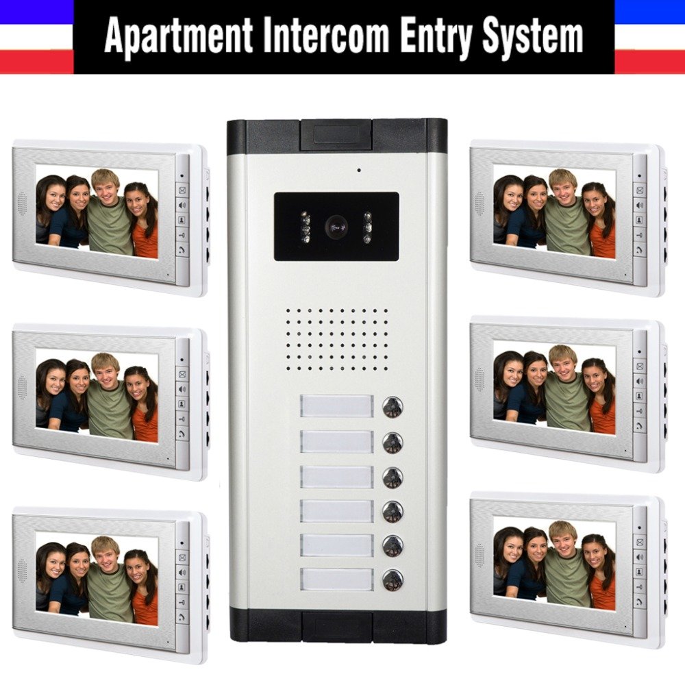 Apartment Intercom System 7 Inch Monitor 6 Units Apartment Video Door Phone Intercom System Wired  Home Video Doorbell kit apartment intercom system 7 inch monitor 6 units apartment video door phone intercom system video intercom doorbell kit