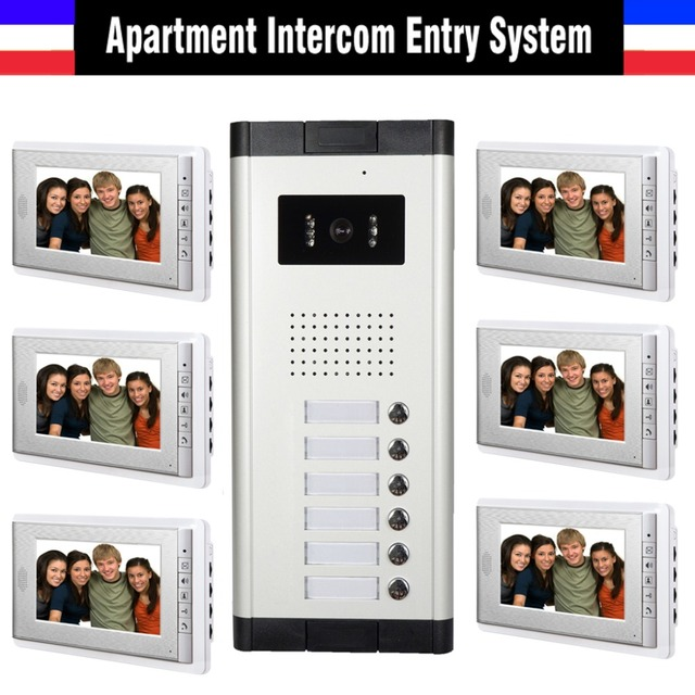 Apartment Intercom System 7 Inch Monitor 6 Units Apartment Video