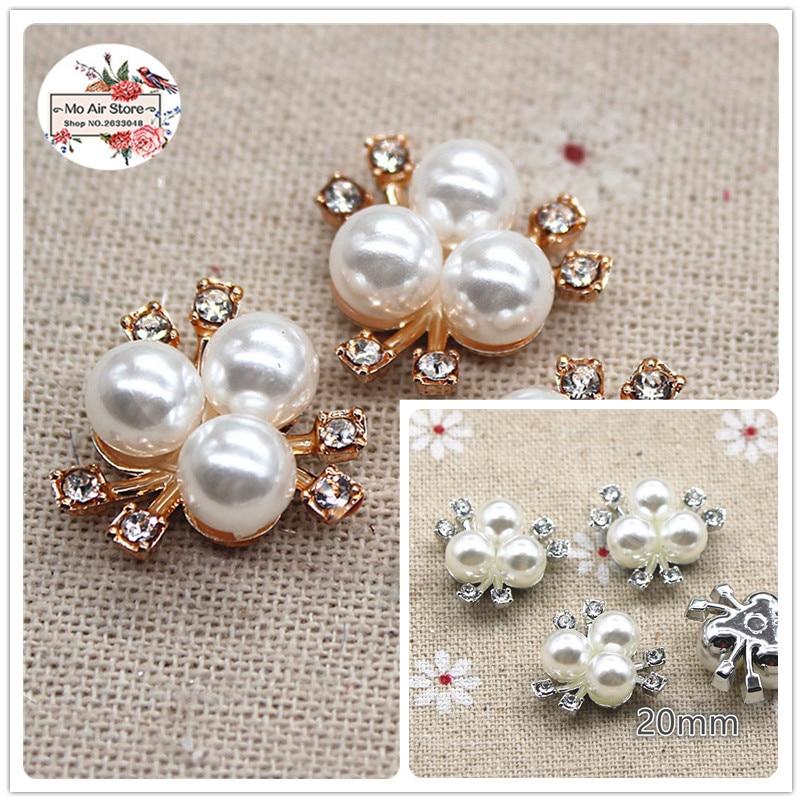 10pcs 20mm Golden/silver Rhinestone Pearl Plastic Flatback Flower Button Decoration Craft Scrapbook Accessories