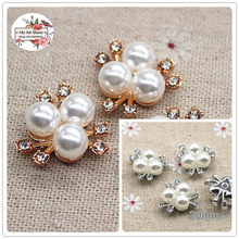 10pcs 20mm golden/silver rhinestone pearl plastic flatback flower button decoration craft scrapbook accessories(China)