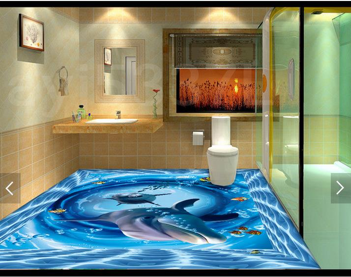 3D wallpaper custom 3d floor painting wallpaper 3d underwater world swimming pool bathroom floor 3d sitting room photo wallpaper купить в Москве 2019