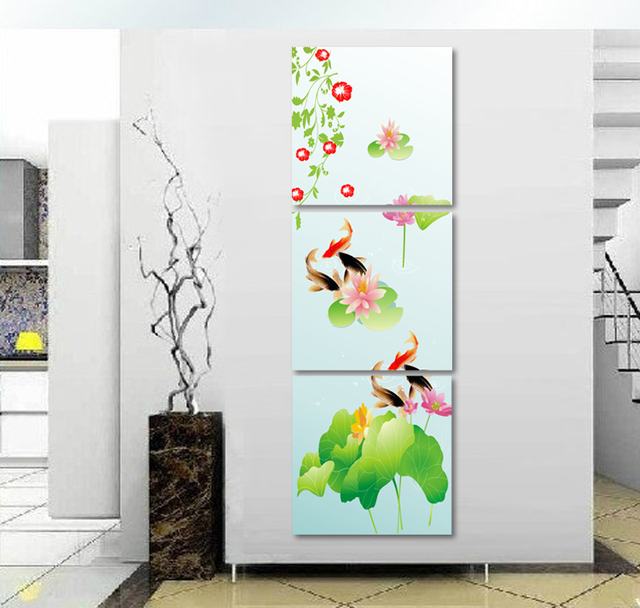 3 Piece Canvas Wall Art Fashion Home Decoration Modern Wall Decor Porch Decoration  Koi Fish Wall