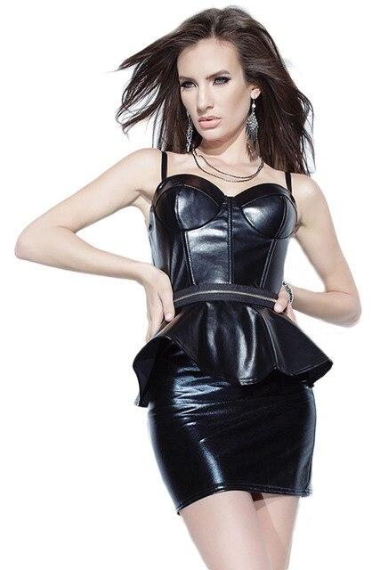 Vestido de cuero negro corto