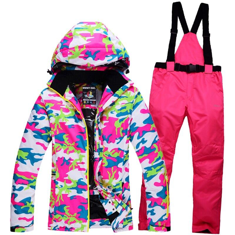 2018 combinaison de Ski Femmes Snowboard Veste Pantalon Vêtements De Ski Thermique Sport Costume Imperméable Coupe-Vent Super Chaud Camouflage Costume Manteau Pantalon