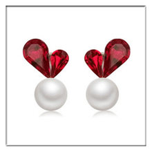 Korean Red Gray Big Crystal Love Heart Stud Earrings Fashion Jewelry Simulated Pearl Tassel Pendientes Brincos For Girls(China)