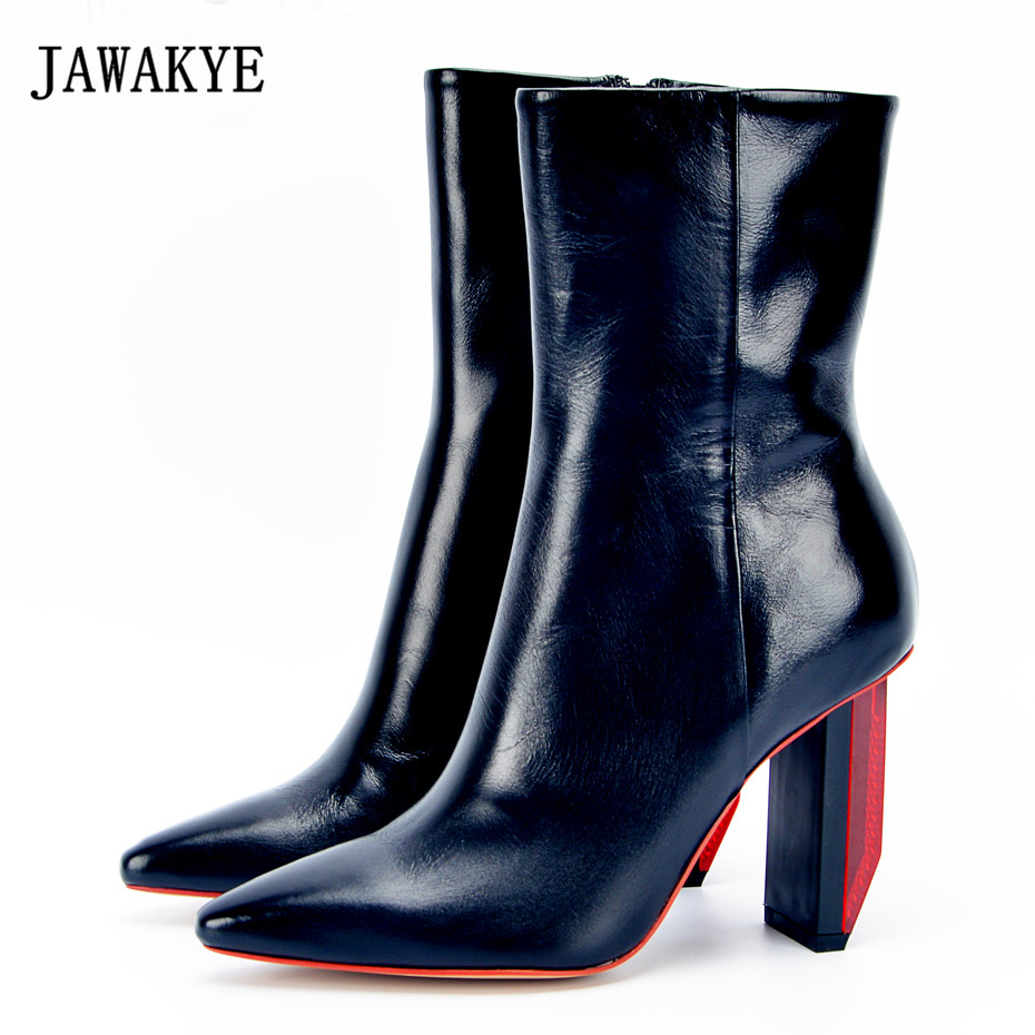 JAWAKYE Special light Heel Leather Ankle Boots Women Pointy red High Heels Autumn Winter Shoes Gladiator Short Boots for Women