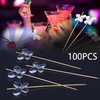 100pcs Butterfly Picks Food Fruit Sticks Buffet Cupcake Toppers Cocktail Transparent Acrylic Wedding Festival Party Decor