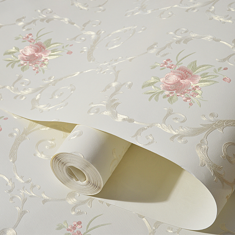 3D Stereoscopic Flower Pastoral Non-woven Thickened Wallpaper Wall Covering Roll Wall Papers Home Decor Living Room Bedroom Wall
