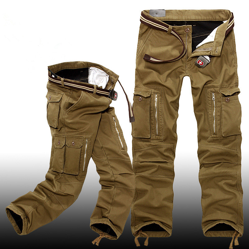 Winter Men Thick Warm Fleece Lining Loose Overalls Pants Outdoor Training Hiking Camping Zipper Pockets Cargo Military Trousers