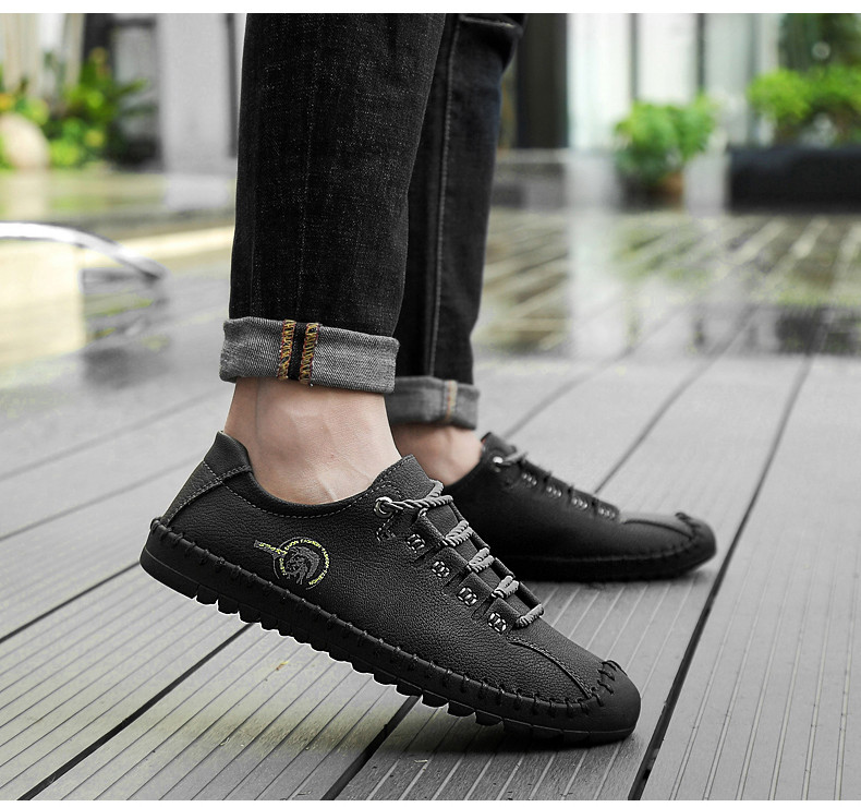 HTB14MFdayDxK1RjSsphq6zHrpXaM - 2019 New Fashion Leather Spring Casual Shoes Men's Shoes Handmade Vintage Loafers Men Flats Hot Sale Moccasins Sneakers Big Size