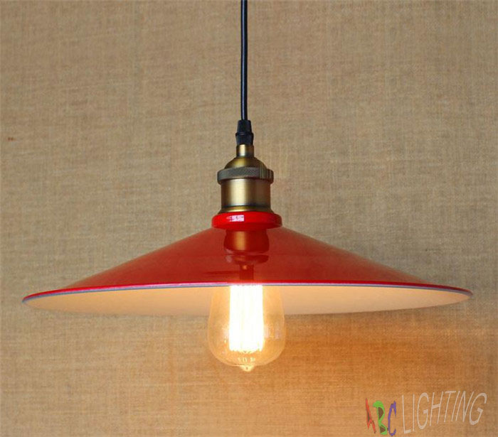 Big Shade Lid Light Rustic Red and White Pendant Edison Lamp Industrial Vintage Metal Brass iron pendant lights lamparas fixture big jujube clip walnut raisin cashew wolfberry honey red dates with white sesame red dates 500g