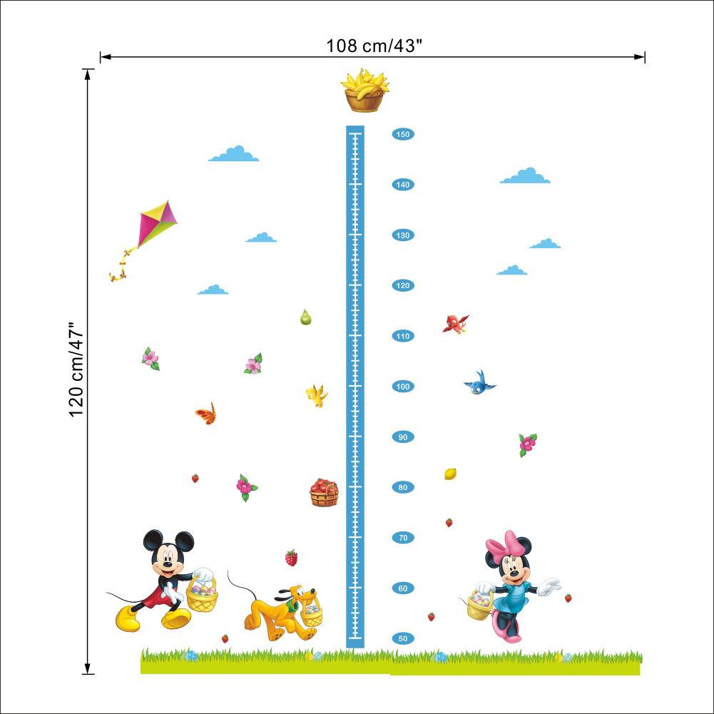 Cartoon Mickey Minnie Mouse Dog Height Measure Growth Chart Wall