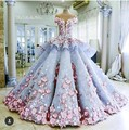 Amazing Hand Made Flowers Lace Ball Gown Evening Dresses 2016 Vestido De Festa O-Neck Tulle Custom Made Charming Bridal Gowns
