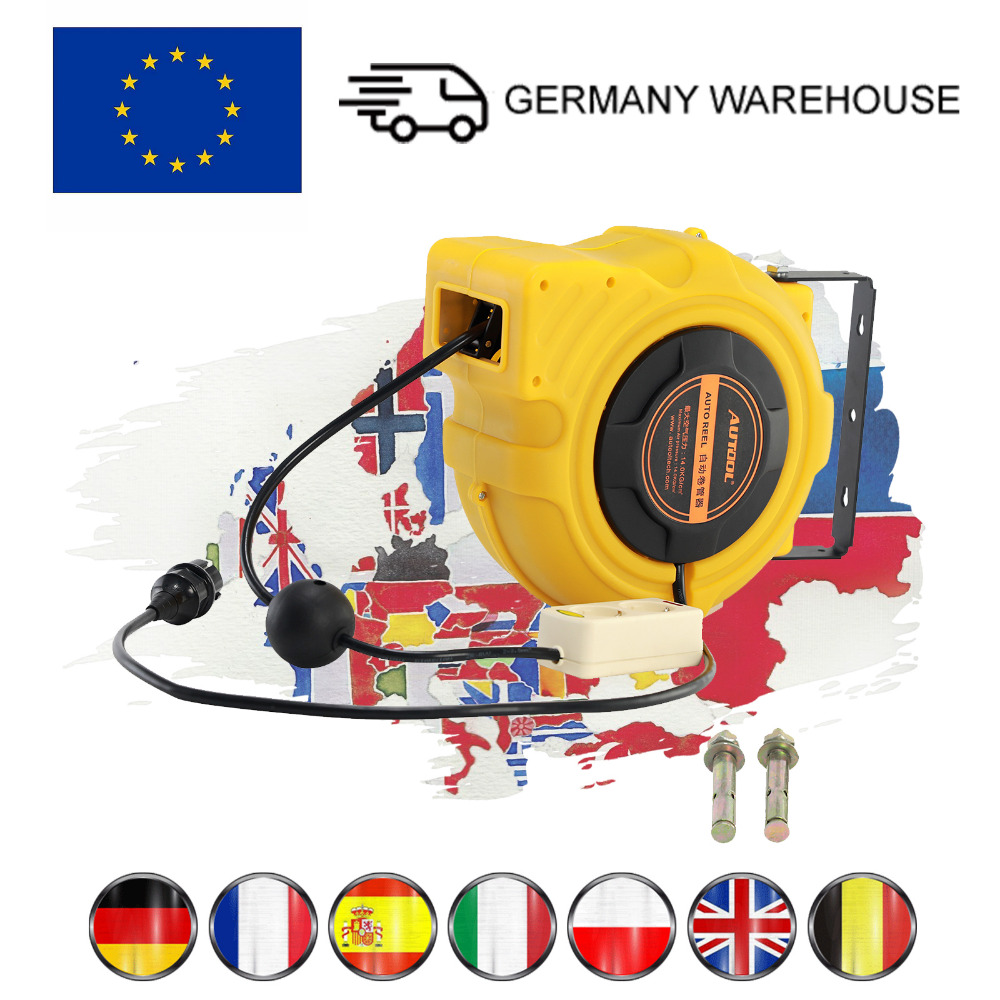 AUTOOL 15m Car Electric Power Supply Hose Reel Automotive Automatic Retractable Reel Winder Tool European 7 Days DeliverAUTOOL 15m Car Electric Power Supply Hose Reel Automotive Automatic Retractable Reel Winder Tool European 7 Days Deliver