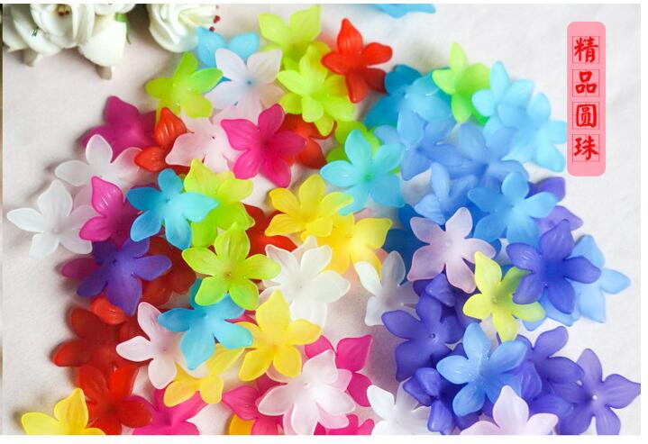 Jewelry Findings 29mm hole five petals Colorful acrylic flower bride headdress accessories