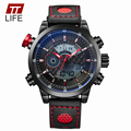 TTLIFE Men's Fashion Dual Display Wristwatches Luxury Famous Brand Leather Dress Watch Men 30m Waterproof Sports Mens Watches